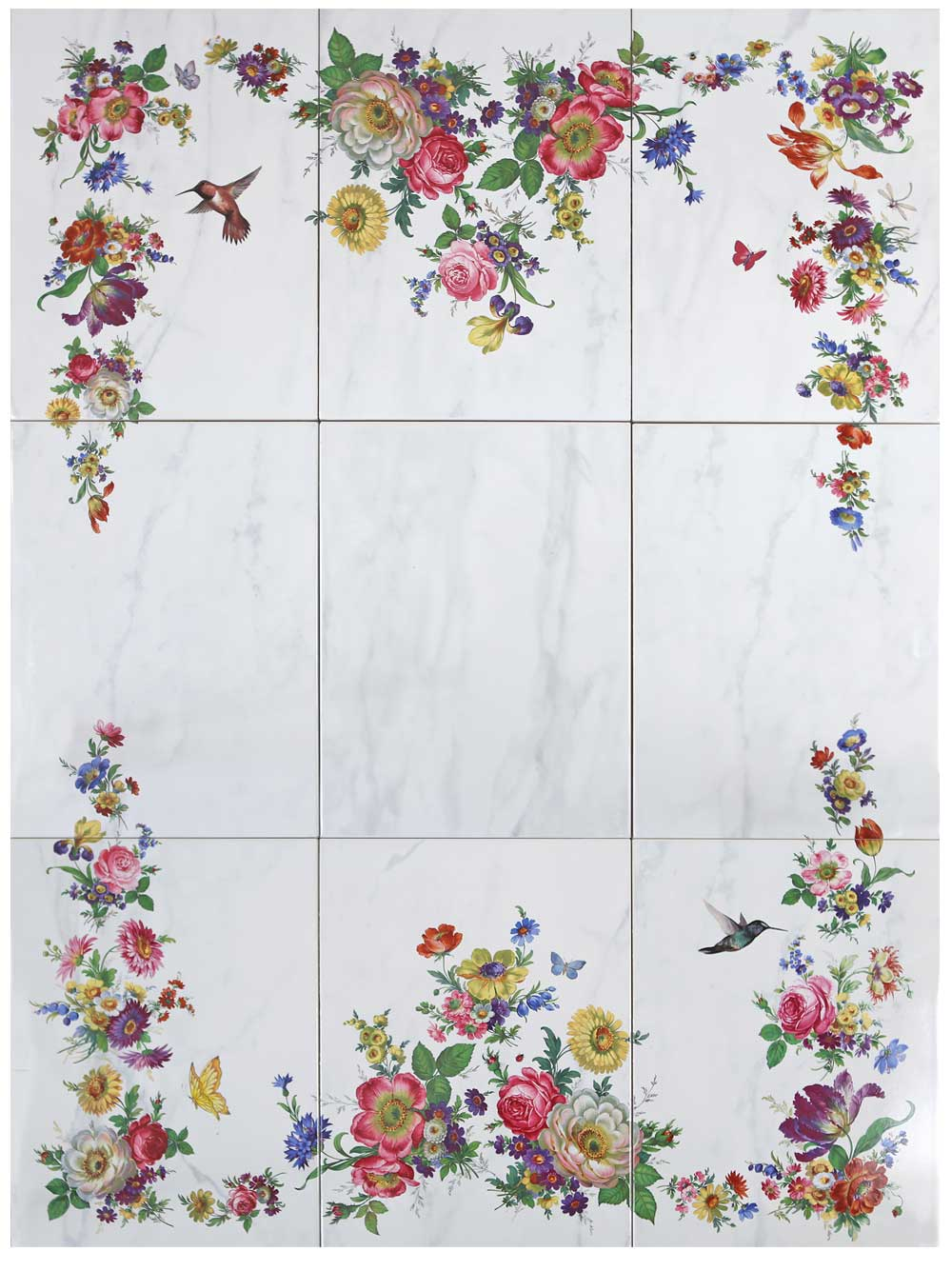 Floral Tile Mural Accessories Decorated Bathroom Blog